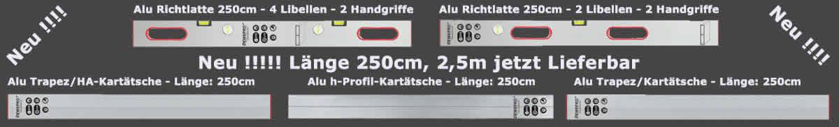 Richtlatte, Alu Trapez, Kartätsche 250cm