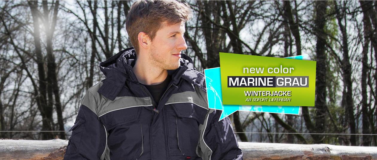 QUALITEX Winter - Winterjacke PRO - mit festem Steppfutter - marine/grau
