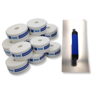 DEWEPRO Glättekelle 280x120mm konkav + 10 x Knauf - Glasfaser Fugendeckstreifen