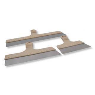 3er Set Flächenspachtel Blatt aus Edelstahl (0,5mm) - Griff/Halterung aus neuartigem Holz/kunststoffgemisch (wasserabweisend)- handlicher, leicht schräg gestellter Kunststoffgriff- Edelstahl (säurebeständig)- mit Aufhängeloch
