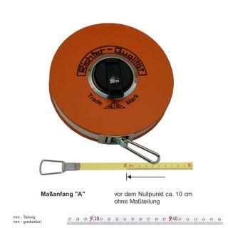 """Richter Stahlbandmass weisslackiert - Platalkapsel Typ """"P"""" - 10m - A - mm"""