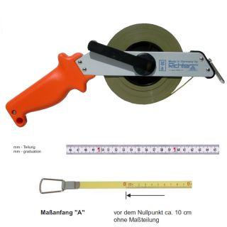 "Richter Stahlbandmass weisslackiert mit mm-Duplexteilung - Leichtmetallrahmen Typ ""SR"" - 10m - A - mm"