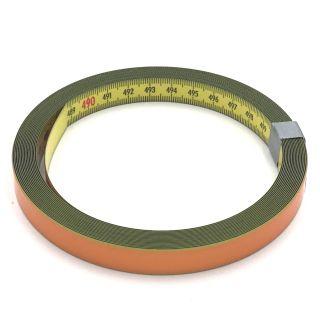 Skalenbandmaß Duplexteilung, 13 mm breit Bezifferung von links nach rechts Stahl, gelb mit Polyamidbeschichtung mit Selbstklebefolie
