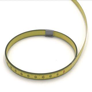 Skalenbandmaß Duplexteilung, 10 mm breit Bezifferung von rechts nach links Stahl, gelb mit Polyamidbeschichtung