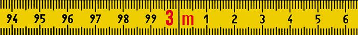 Skalenbandmaß Duplexteilung, 10 mm breit Bezifferung von links nach rechts Stahl, gelb mit Polyamidbeschichtung