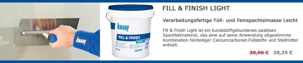 Fill & Finish Light ist ein kunststoffgebundenes pastöses Spachtelmaterial