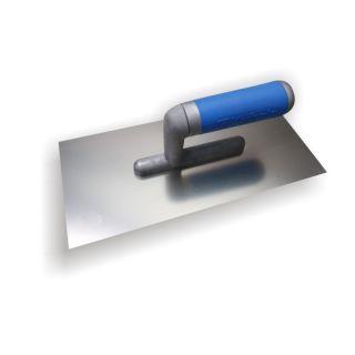 Glattekelle - MODELL STRAIGHT - Edelstahl glatt- mit 2-Komponenten-Griff- 270x130mm - Zahnung: glatt
