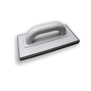 Reibebrett Schwammauflage fein - Trägerbrett aus Polystyrol gefertigt- fein-poriger Schwamm-Auflage grau (20mm) - geschlossener Handgriff- 280x140mm