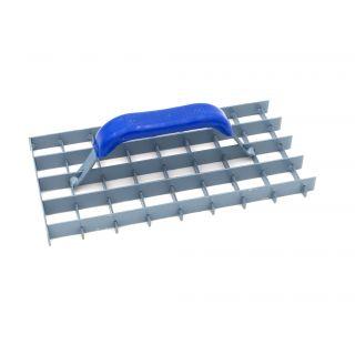 Gitterrabot ungezahnt - hergestellt aus Stahl - ergonomisch geformter Griff mit Kunststoff überzogen- 2 offene, 2 geschlossene Seiten- Abmessung: 285 x 145mm