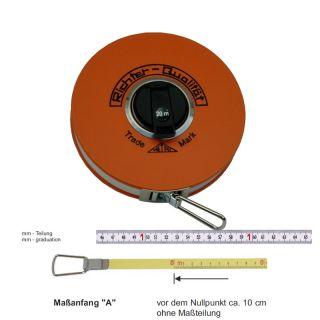 """Richter Stahlbandmass weisslackiert mit mm-Duplexteilung - Platalkapsel Typ """"P"""" - 10m - A - mm"""