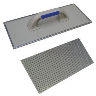 WDVS-Schleifbrett geschlossen - mit Stahlblech-Raspelbelag- 2- Komponenten Handgriff- Abmessung: 380x160