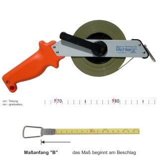 Richter Stahlbandmass weiß lackiert - Leichtmetallrahmen Typ 'SR' - ab 10m - B - cm