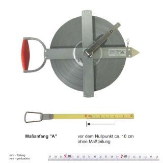 Richter Stahlbandmass weisslackiert - stabiler Feldrahmen - 150m - A - mm