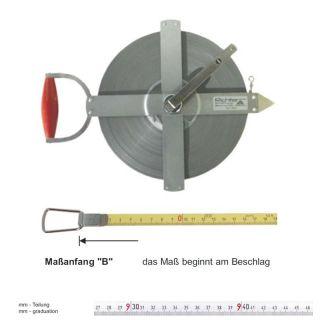 Richter Stahlbandmass weisslackiert - stabiler Feldrahmen - 150m - B - mm