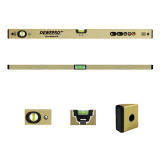 Wasserwaage gold eloxiert - 2 Libellen - Länge: 50cm