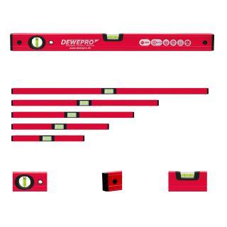 Set 5 teilig Wasserwaage rot lackiert - 2 Libellen - Längen: 30,40,50,60,80cm