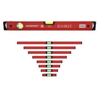 Set 9 teilig Wasserwaage rot lackiert - 2 Libellen - Längen: 30,40,50,60,80,100,120,150,200cm