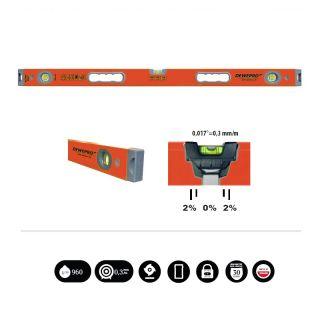 Wasserwaage orange 2 Griffe/3 Libellen - Länge: 180cm