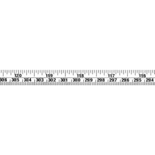 Skalenbandmaß mm+inches ab 300cm/120inches Selbstklebefolie