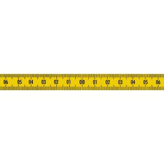 Skalenbandmaß Duplex-Teilung, 13 mm breit Nullpunkt in der Mitte, nach links und rechts steigend Stahl, gelb mit Polyamidbeschichtung mit Selbstklebefolie