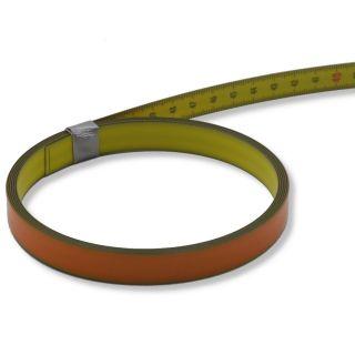Skalenbandmaß Duplexteilung, 13 mm breit Bezifferung von unten nach oben Stahl, gelb mit Polyamidbeschichtung mit Selbstklebefolie