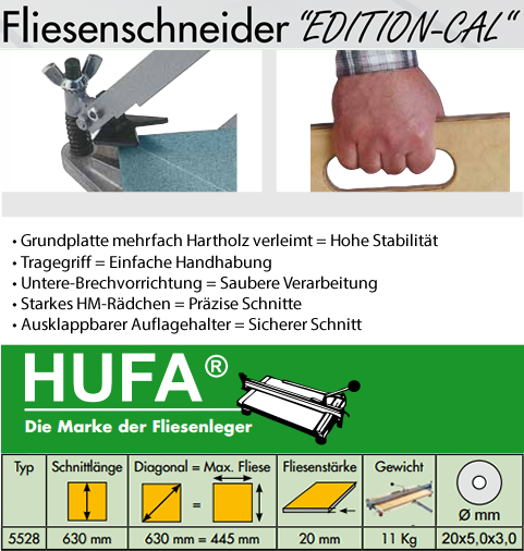 HUFA Fliesenschneider Sondermodell 630mm (C-al)